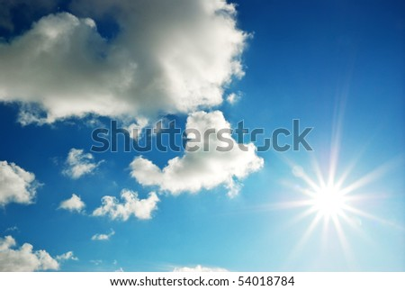 Beautiful sky with sun and clouds.  Nature composition.