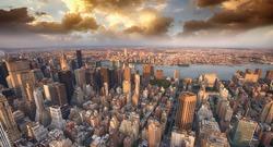 Beautiful skyline of Manhattan skyscrapers in the summer evening.