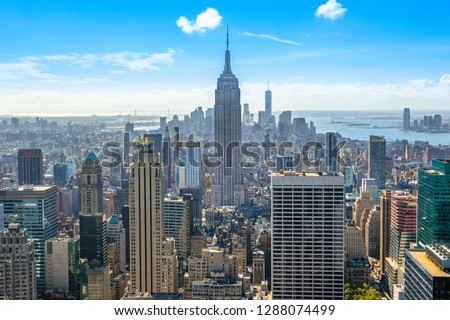 Beautiful skyline of Midtown Manhattan from Rockefeller Observatory - Top of the Rock - New York, USA #1288074499