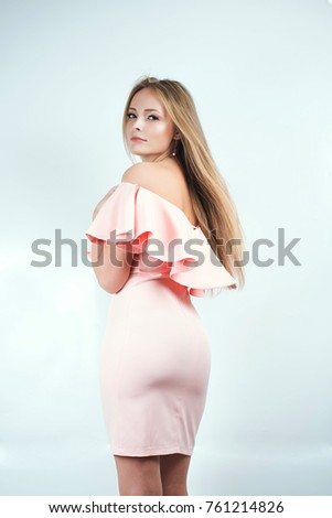 Beautiful Slender Blonde In Pink Cocktail Dress With Long Hair And Big Booty Is Back In