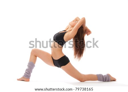 Beautiful slim fitness woman stretching exercise on a white background