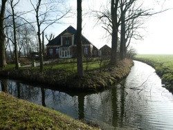 beautiful small brook lined with poplars and waterreflection. Dutch farm in the background