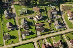 Beautiful small green village from above