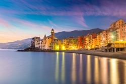 Beautiful Small Mediterranean Town Camogli  at the night time with illumination. Long exposure. Camogli, Italy, European travel
