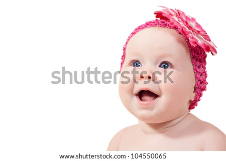 Beautiful smile little baby girl isolated over white