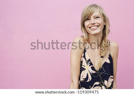 Beautiful smile on blond model, portrait