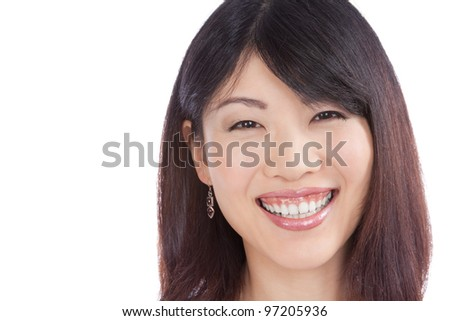 Beautiful smiling asian woman isolated on white background.