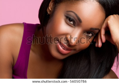 Beautiful smiling black woman closeup