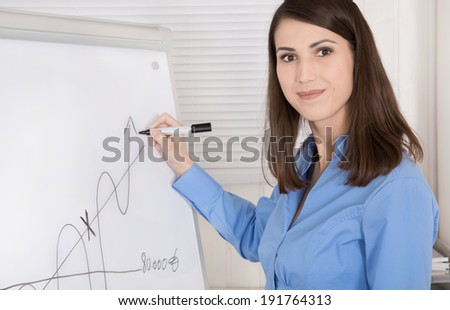 Beautiful smiling business woman explain break even point on a flip chart making graphic curves,