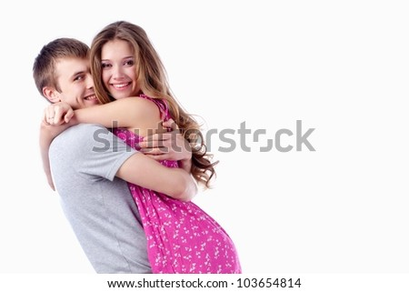 beautiful smiling couple on white background