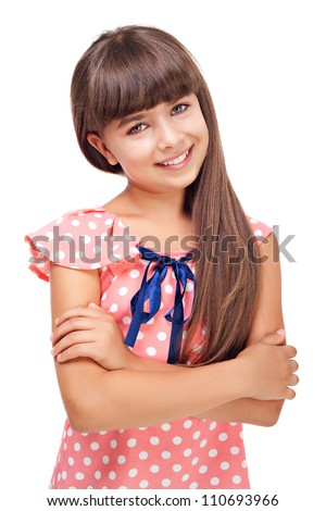 Beautiful smiling girl isolated over white