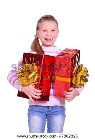 beautiful smiling girl with a gift. isolated on white