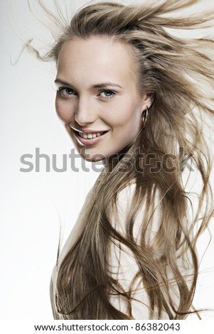 beautiful smiling girl with long wonderful hair