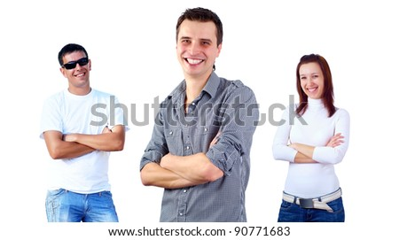 Beautiful smiling group of young people standing, white background