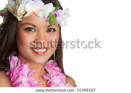 Beautiful smiling hawaiian tropical woman