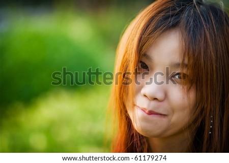 beautiful smiling headshot asia girl