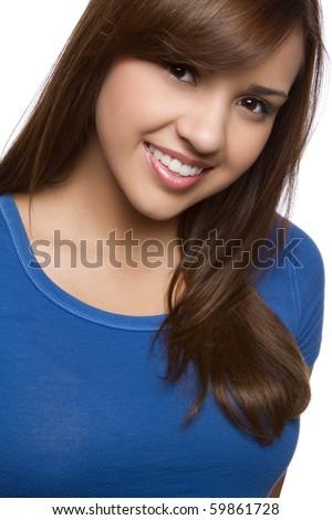 Beautiful smiling hispanic girl headshot