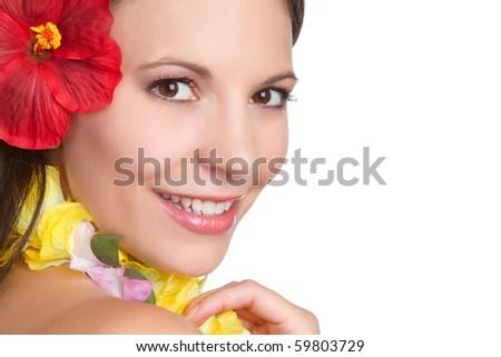 Beautiful smiling tropical hawaiian woman