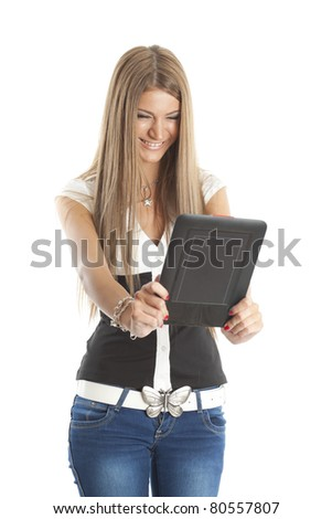 Beautiful Smiling Woman Communicate With Tablet Computer, isolate on white