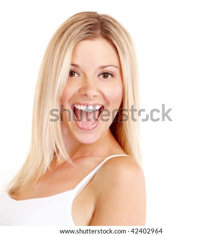 Beautiful smiling woman. Isolated over white background