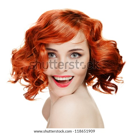 Beautiful smiling woman portrait on white background