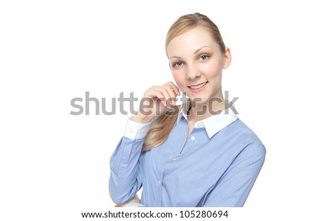 Beautiful smiling young Caucasian woman white background