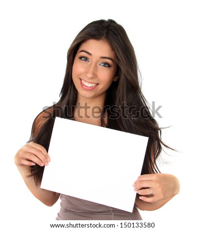 Beautiful smiling young woman holding a white sign.
