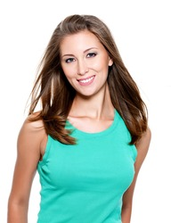 Beautiful smiling young woman with long straight hair