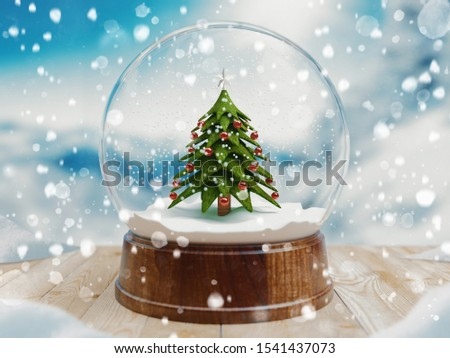 Beautiful snow ball or snowglobe with snowfall and Christmas tree inside. 3d rendering