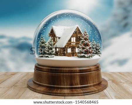 Beautiful snow ball or snowglobe with snowfall and mountain house inside. 3d rendering