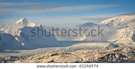 Beautiful snow-capped mountains against the sky