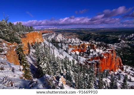 Beautiful snow covered cliffs of Bryce Canyon National Park of Utah