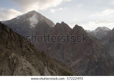 Beautiful snow mountain in Fansky mountains in evening illumination. #57222493