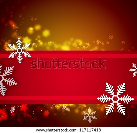 Beautiful snowflake Christmas background with ribbon and copyspace