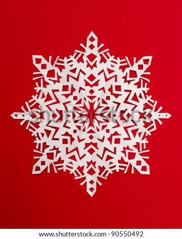 beautiful snowflake on a red background