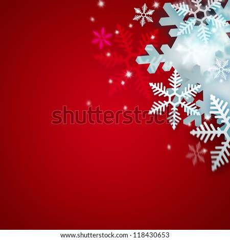 Beautiful snowflake red Christmas background with copyspace