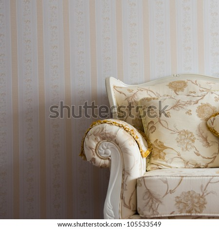 Beautiful sofa on a background of a wall