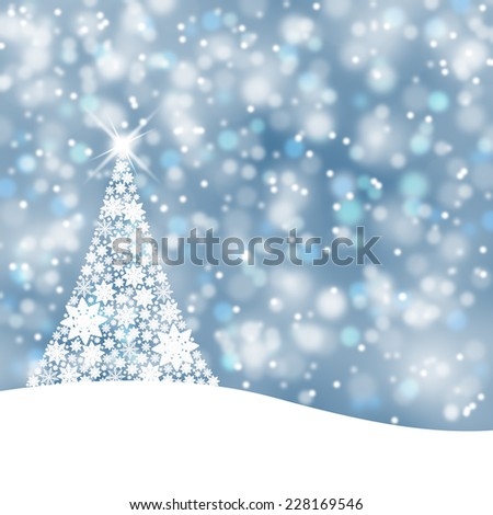 Beautiful soft blue background illustration with snowflake Christmas tree and sparkle. - Shutterstock ID 228169546