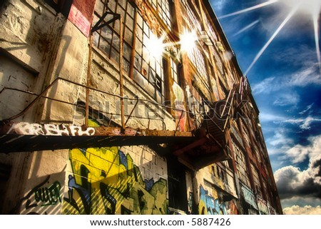 Beautiful softened image of graffiti stairway up to the sky. Heaven steps
