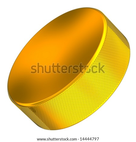 Beautiful solid gold hockey puck isolated on white