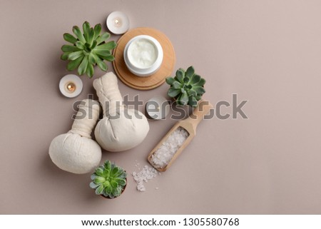 Beautiful spa composition on color background #1305580768