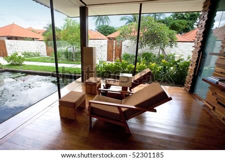 Beautiful spa lounge setting in the tropics