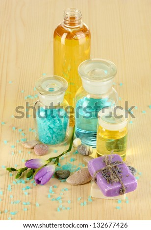 Beautiful spa setting on wooden table close-up