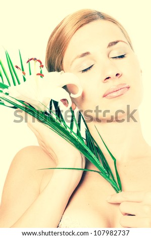 beautiful spa woman with lilly