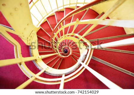 Beautiful spiral staircase in the interior of a building