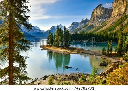 Beautiful Spirit Island in Maligne Lake, Jasper National Park, Alberta, Canada #742982791