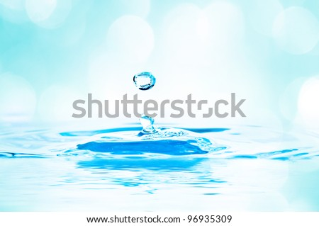 beautiful splash of water blue drops with lights in the background