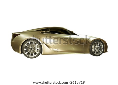 Beautiful  sports car isolated on a white background.