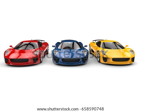 Beautiful sports cars in primary colors - 3D Illustration #658590748