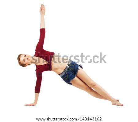... doing stretching exercise. Isolated on white background - stock photo